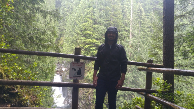 Hiking in the rain at Wallace Falls.