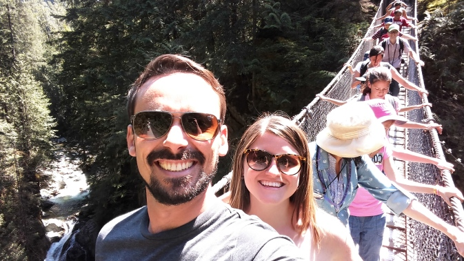 Crossing the Lynn Valley Suspension Bridge.